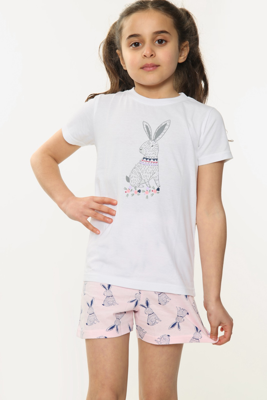 Girls Bunny Print Short Sleeve Shorts Pyjamas