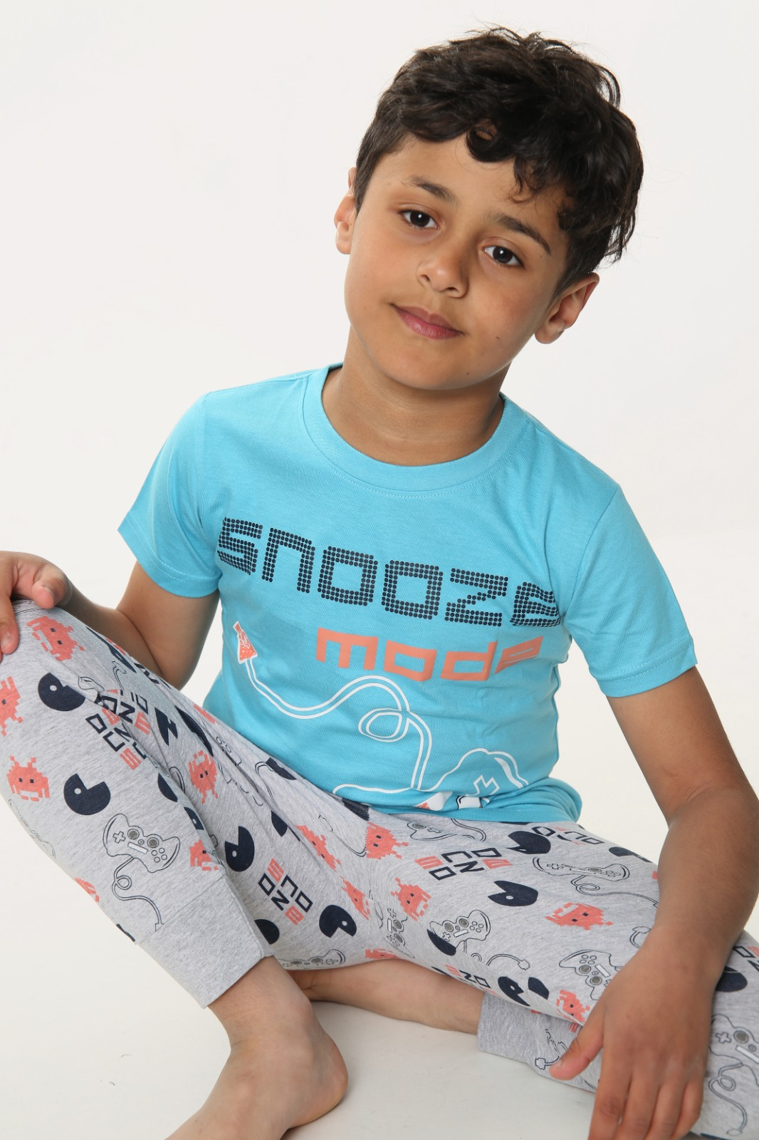Boys Snooze Mode Print Short Sleeve Long Pyjamas