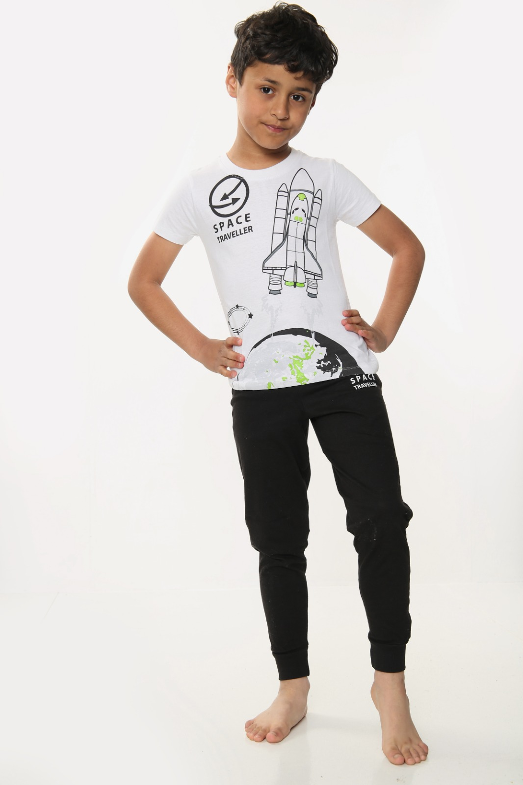 Boys Rocket Print Short Sleeve Long Pyjamas