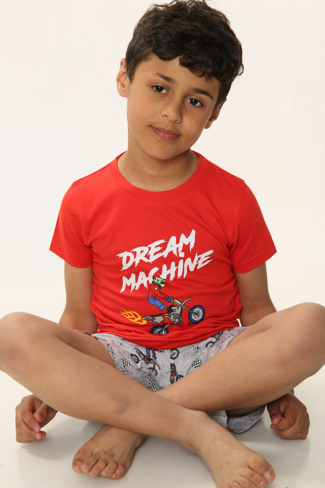 Boys Biker Print Short Sleeve Shorts Pyjamas